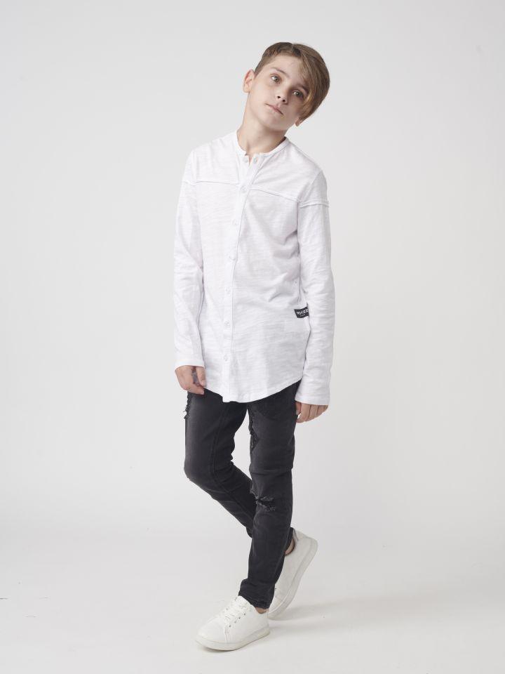 חולצה מכופתרת צווארון סיני