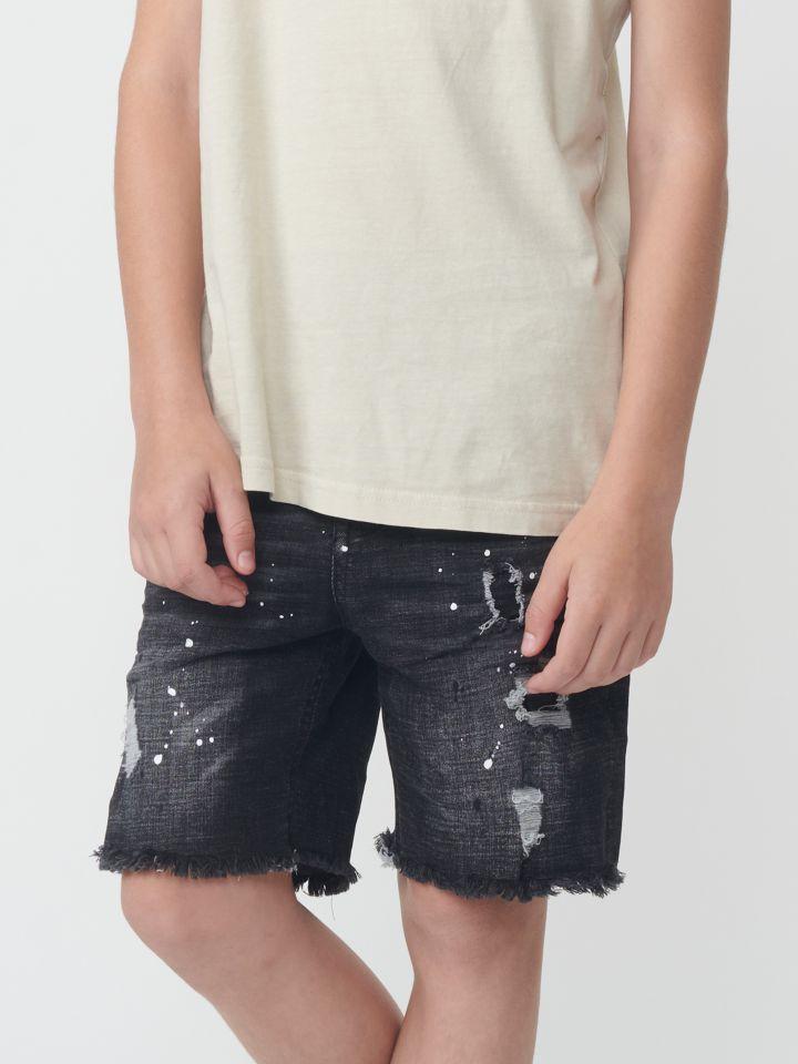 ברמודה ג`ינס עם קרעים ושפריצים