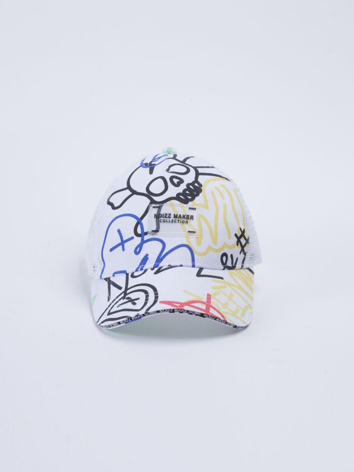 כובע מצחיה בדפוס גרפיטי צבעוני