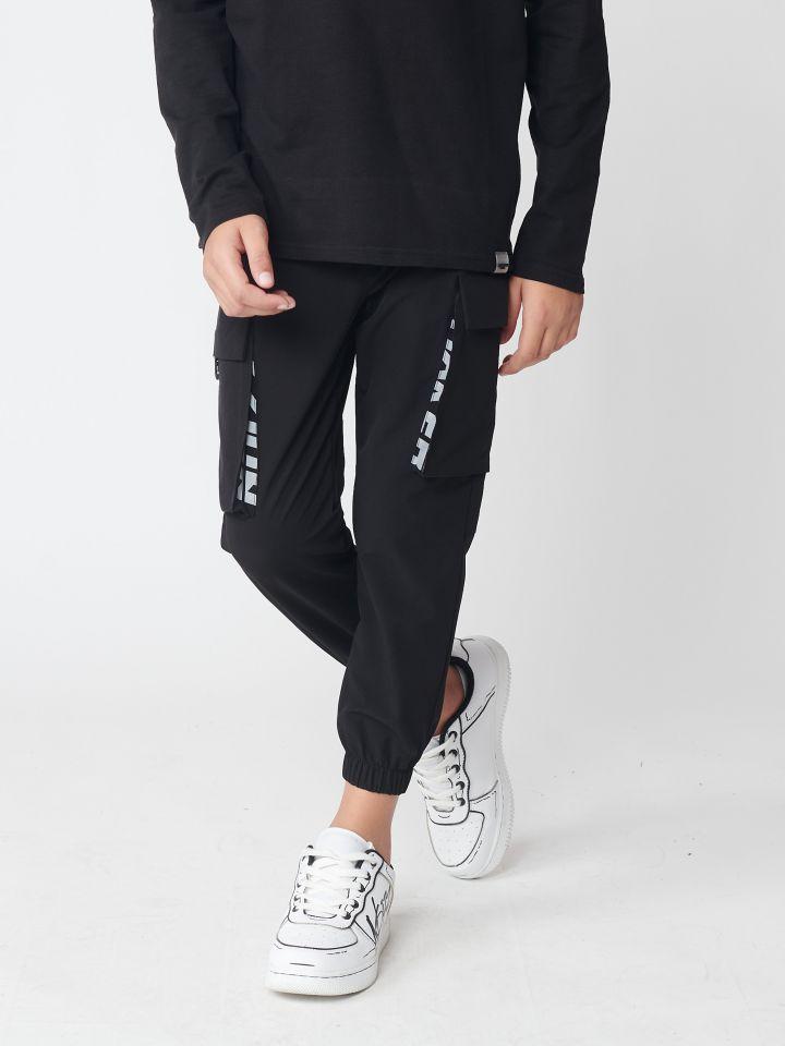 מכנסי בד בשילוב כיסים