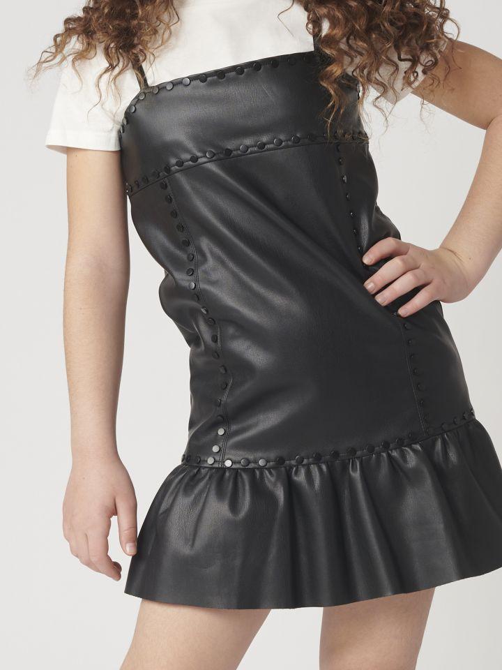שמלה דמוי עור בשילוב חולצה