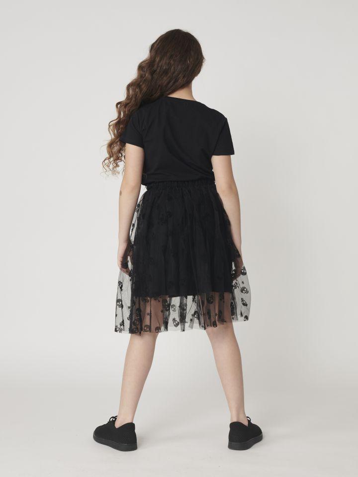 חצאית באורך ביניים בשילוב טול