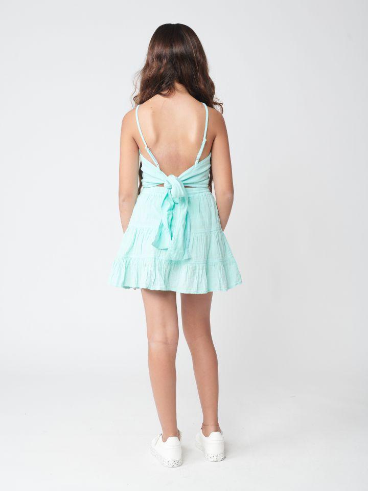סט חצאית וגופיה עם קשירה בגב