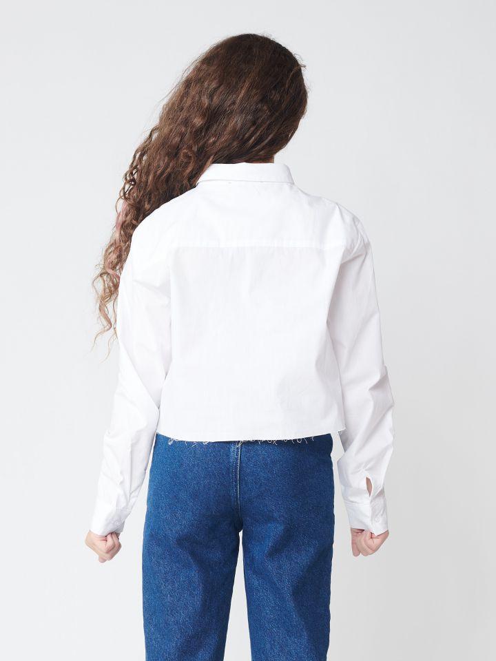 חולצת אריג מכופתרת קרופ