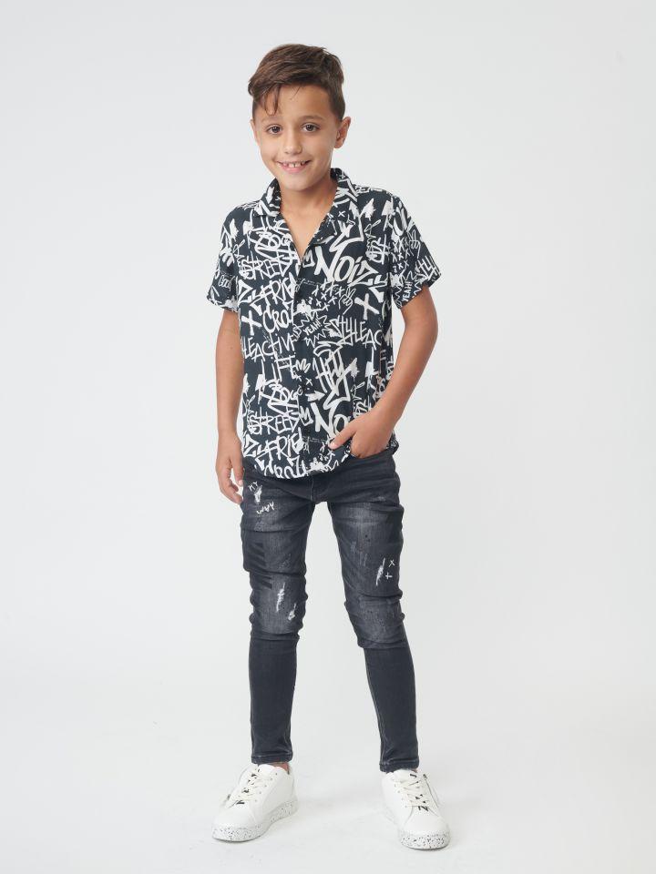 ג'ינס אפור כהה עם קרעים