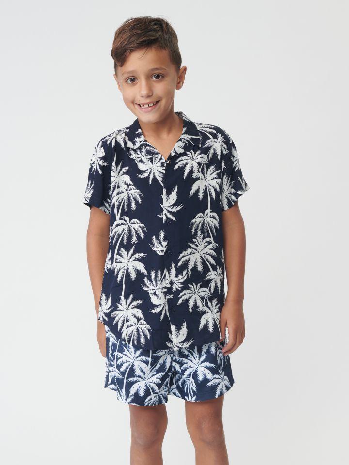 חולצה מכופתרת בדפוס טרופי