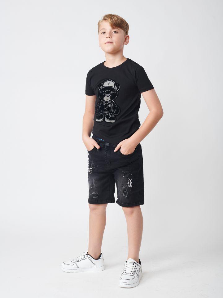 ברמודה ג`ינס עם רקמות וקרעים