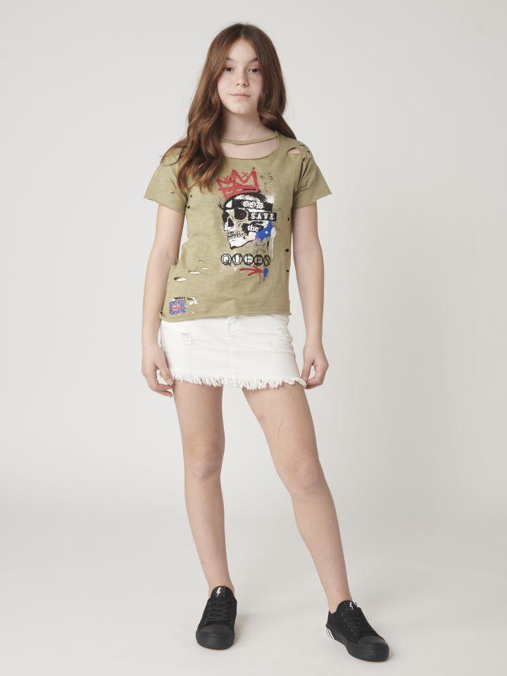 חצאית ג`ינס בסיומת פרנזים