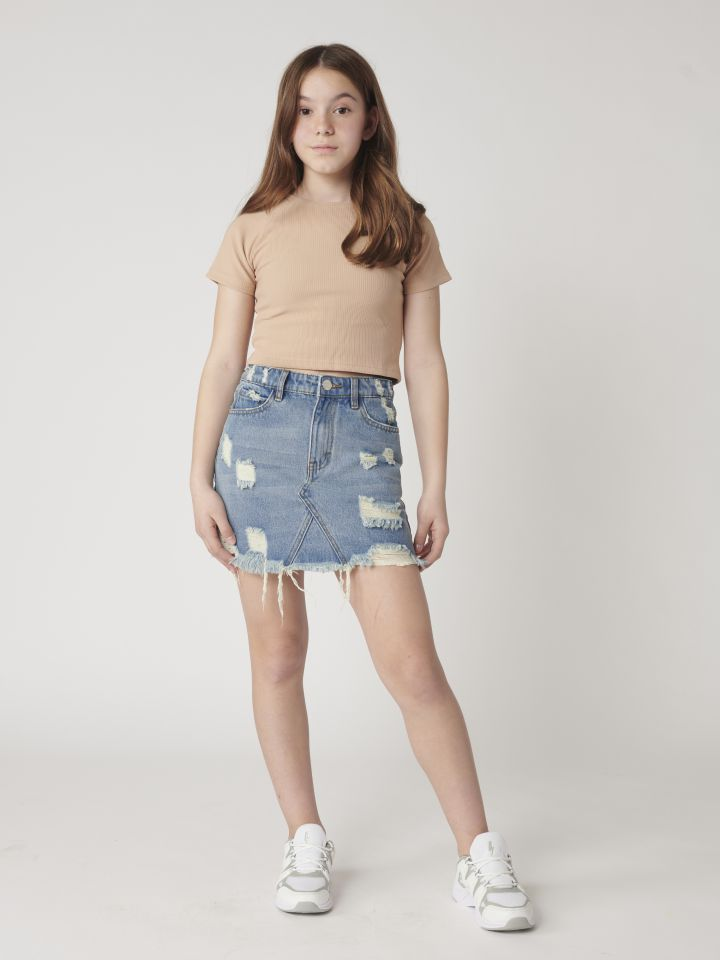 חצאית ג`ינס  קרעים