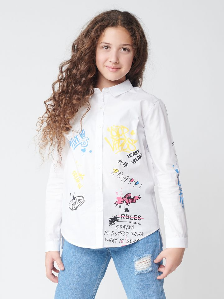 חולצת אריג מכופתרת גרפיטי
